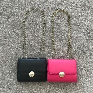 Handbags - 2 Adjustable Gold Strap Purse - Black / Pink